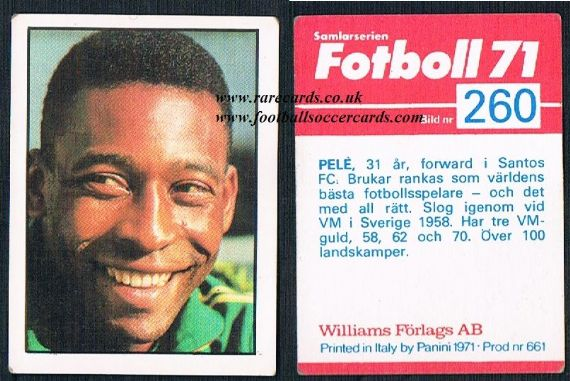 1971 Pele Williams Panini Swedish card